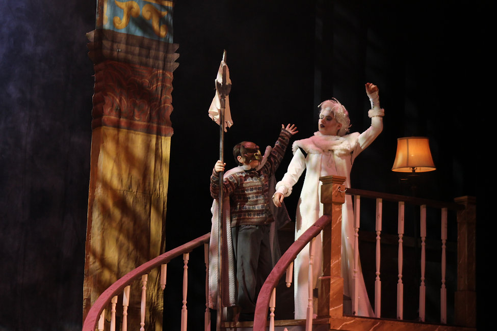 The Lion, The Witch & The Wardrobe play. Emmie Conner performs as the White Witch while Randall Keeling portrays the dwarf.