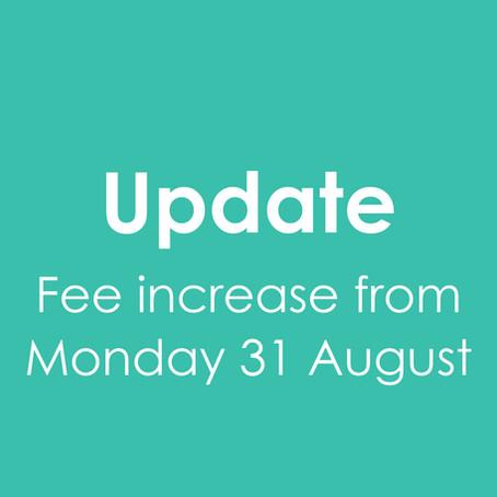 Update to fee schedule
