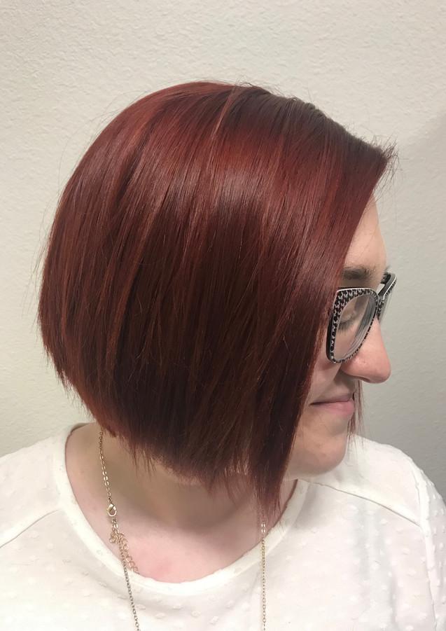 Vibrant red haircolor