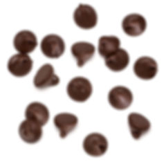 Chocolate chips morsels spread isolated