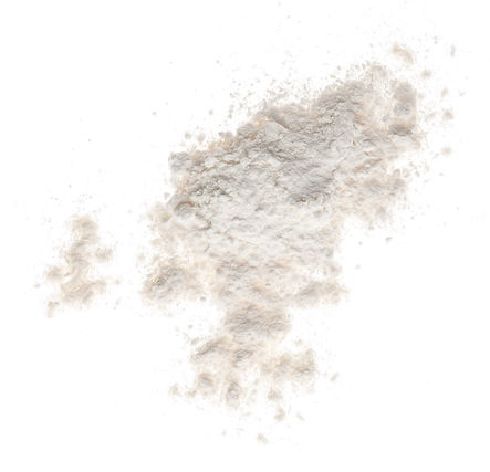 Pile of flour isolated on white backgrou