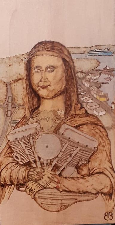 Mona Lisa with Heart, Woodburning