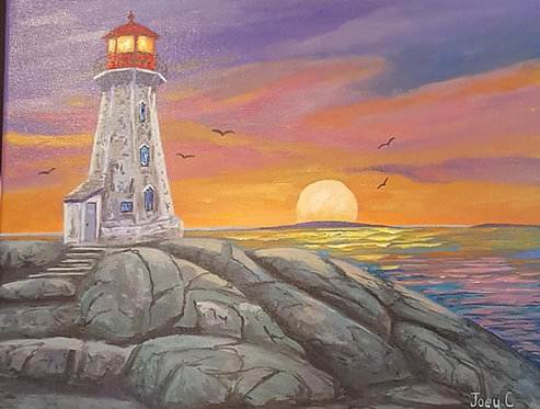 Sun Going Down At Peggy's Cove