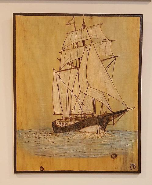Sailing Ship Woodburning #22