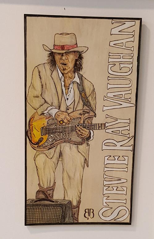 Stevie Ray Vaughan Woodburning
