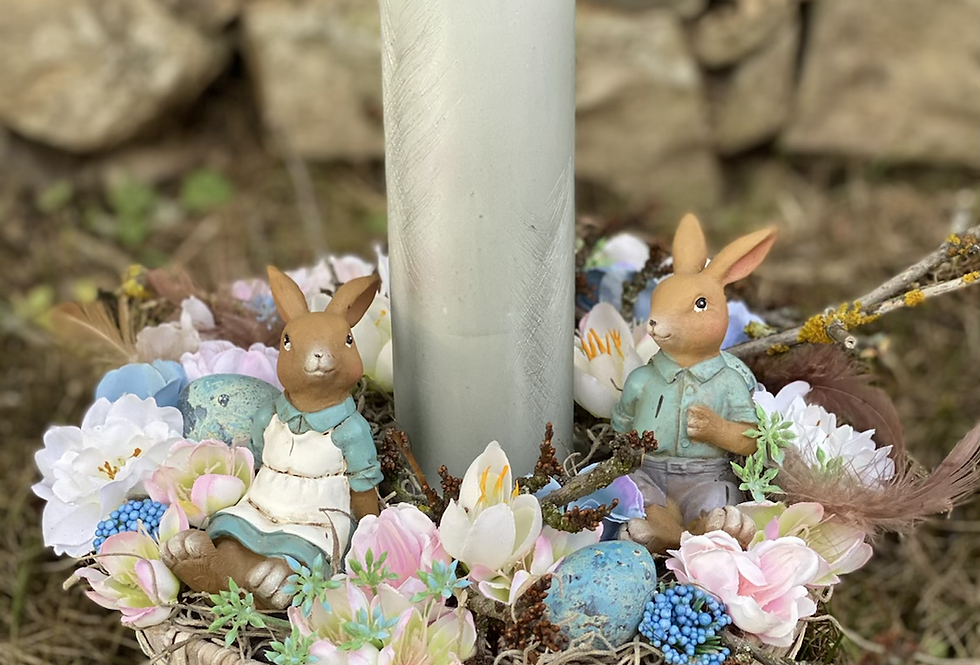 Jarní svícen se zajíčky