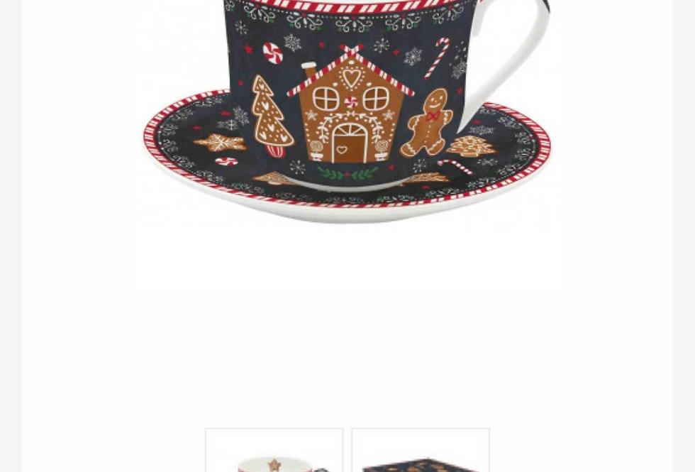 Vánoční šálek s podšálkem