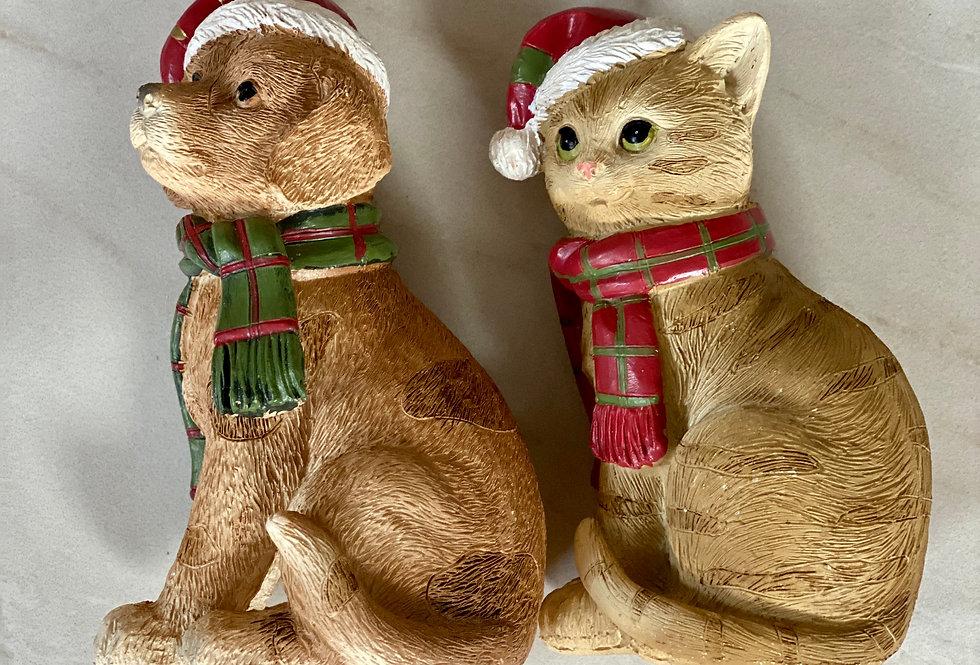 Vánoční figurka - pejsek, kočička