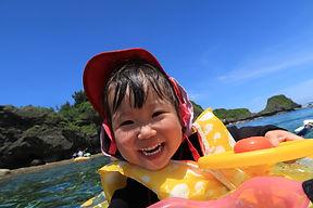 家族,青の洞窟,2歳,シュノーケリング