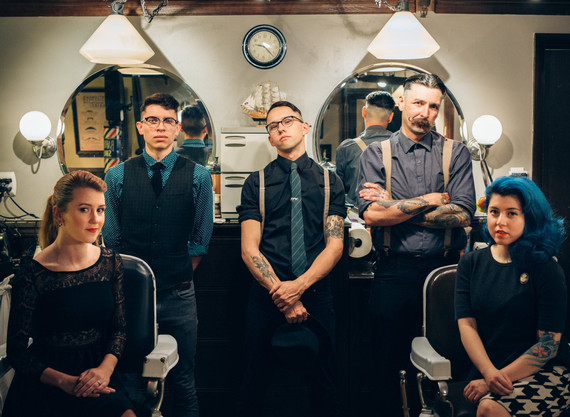 McKenzie, Isaac, Reise, Davey, and Silvana in Shop