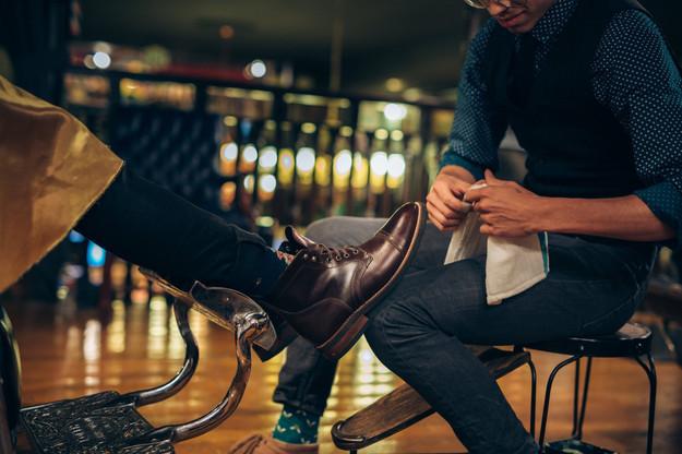 Isaac Giving a Shoe Shine