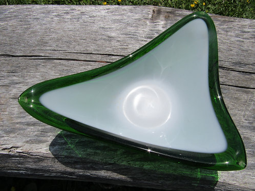 MId-Century Green Cased Glass Dish