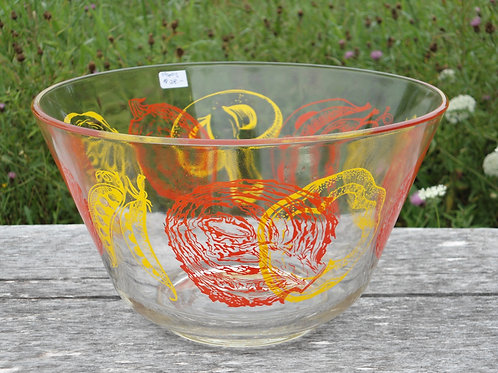 Mid-century Painted Glass Mixing Bowl