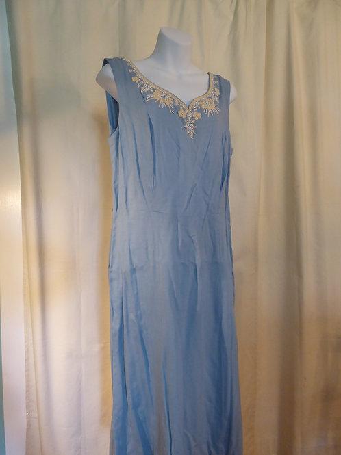 1950's Blue Linen Beaded Dress