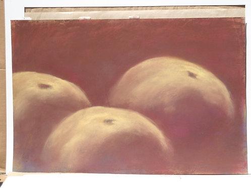Jackie Barrette Original Large Oil Pastel of Apples