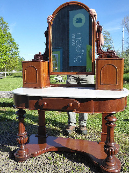 Antique Vanity with marble table and mirror