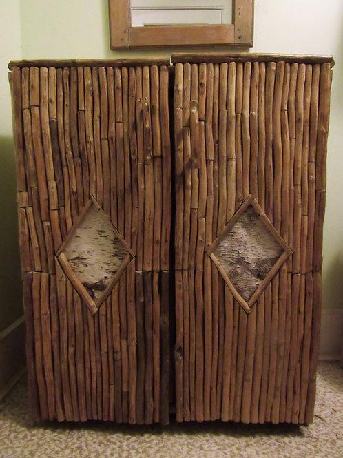 Folky Adirondack Twig and Birch Bark Cupboard