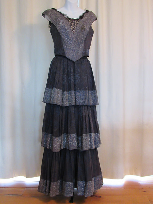 Victorian/Edwardian Silk Damask Dress Skirt and Top