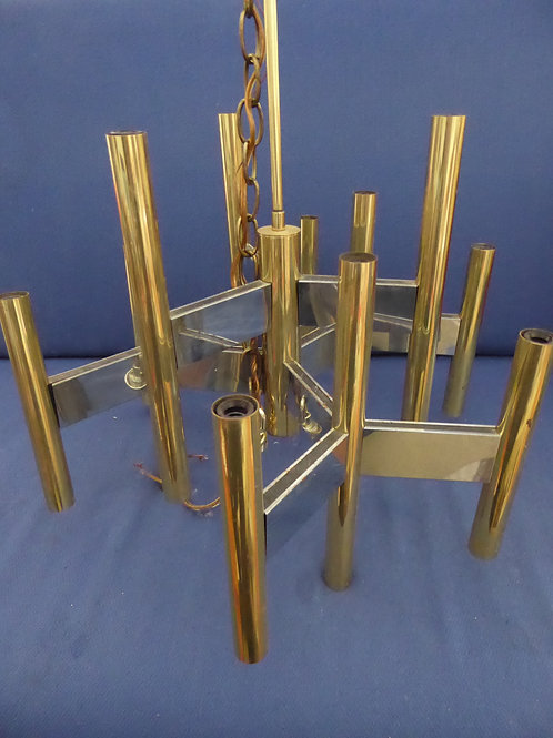 Mid-Century Gaetano Scolari Brass and Chrome Chandelier
