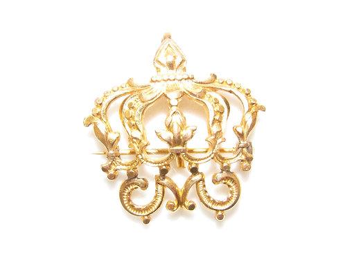 Victorian Ormolu Gold Crown Brooch Pin