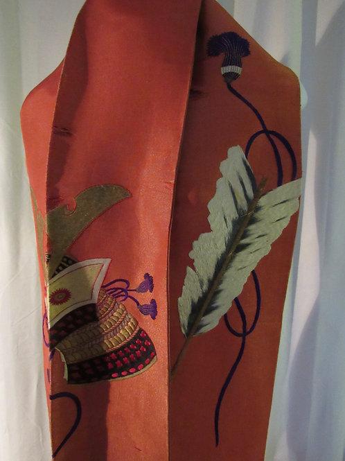 Antique Silk Japanese Kimono Obi or sash