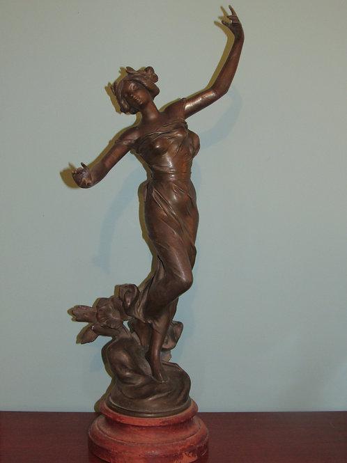 Antique Art Nouveau Spelterware Statue