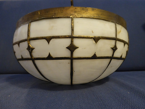 Late 19th Century Brass Slag Glass ceiling fixture