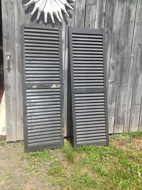 Pair Antique Wooden Window Shutters