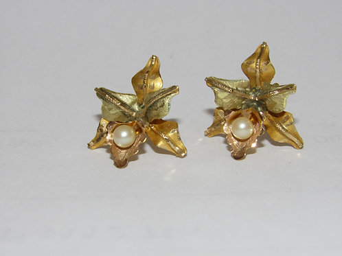 14k Yellow, Pink and Green Gold pearl earrings