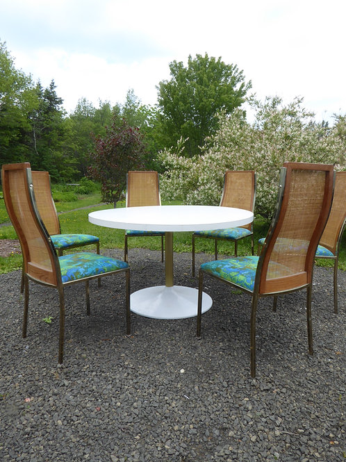 Mid-Century Round Dining Table with six chairs