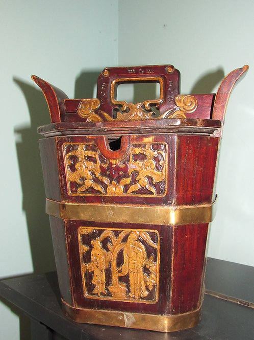 Vintage Asian Wood Tea Caddy