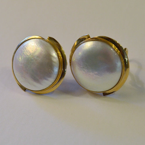 Large Pearl and 14k Gold Earrings