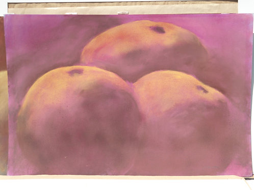 Jackie Barrette Original Large Oil Pastel of Apples