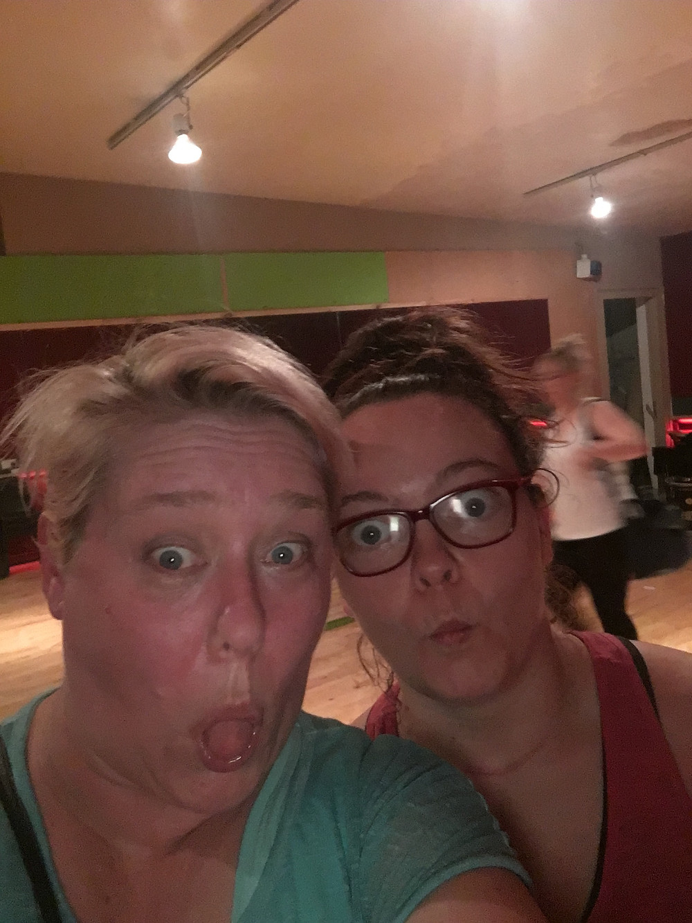 Check out our red faces after class!