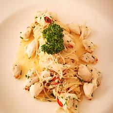 Angel Hair Pasta with Jumbo Lump Crab Meat  in Garlic Chili White Wine