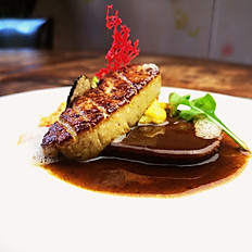 Foie Gras X Ox Tongue Pan-Seared Foie Gras & Slow Cooked French Charolais  Beef Tongue in Red Wine with Corn Puree