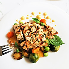 Grilled Chicken Breast with Ratatouille in Peppercorn Shitake Mushroom Cognac Sauce