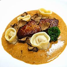 Seared Foie Gras, Tortellini Pork Shrimp   in Wild Mushroom, Truffle Brown Butter Cream