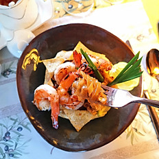 """""""Pad Thai Kung"""" Fried Rice Noodles  in Tamarind Sauce with Grilled White Shrimps"""