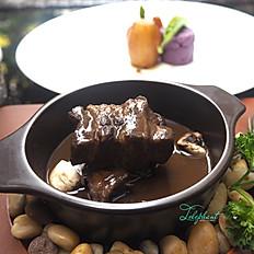 Boar Cheeks en Daube à La Provençale (Slowed Cooked Boar Cheeks in Red Wine)