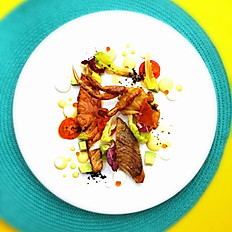 King & Crab Salad Grilled King Salmon, Wild Fish & Soft-Shell Crab Black Garlic, Baby Salad in Spicy Saffron Lemon Cream