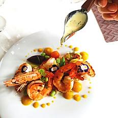 Brandy Flambé Shrimps with Ginger Bomba Rice in Saffron Lemon Cream