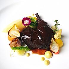 Slow Cooked Free-Range Chicken Leg in Cognac XO Sauce with Seasonal Vegetable, Potato & Carrot Confit