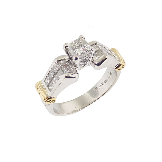 Platinum & 18KT Yellow Princess Cut Diamond Engagement Ring