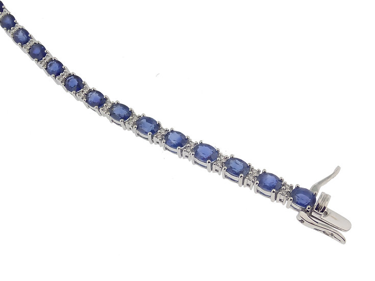 14kt White Oval Cut Blue Sapphire & Diamond Bracelet
