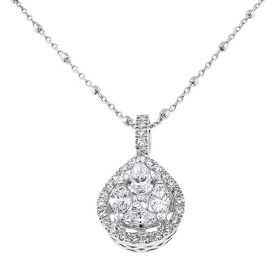 14kt White Diamond Pear Shaped Pendant with Diamond set Bail