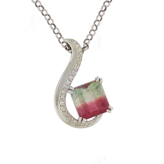 14kt White Custom Design Bi Color Watermelon Tourmaline & Diamond Pendant
