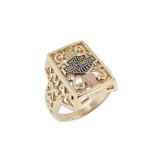 """10kt """"Harley Davidson Black Hills"""" Gold Style Ring"""