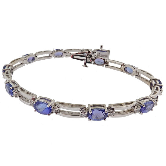 14kt White Tanzanite & Diamond Bracelet