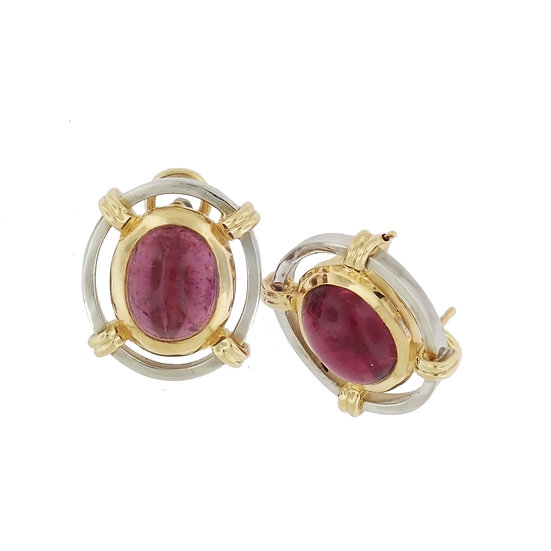 14kt White & Yellow Custom Handmade Natural Pink Tourmaline Earrings